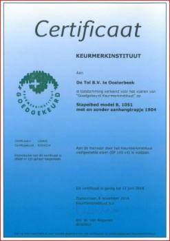Stapelbedden certificaat